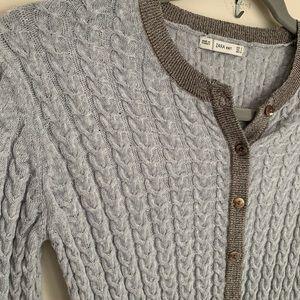 Zara knit grey cardigan gold metallic knit